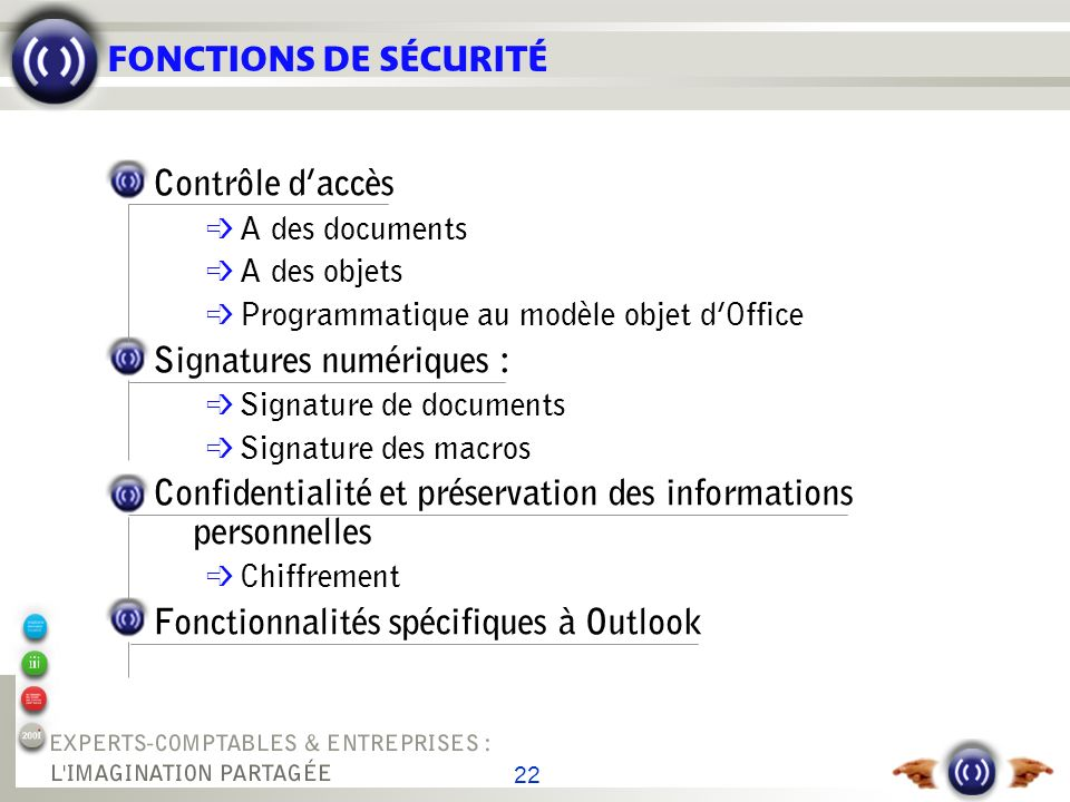 FONCTIONS DE SÉCURITÉ SIGNATURE DE DOCUMENTS