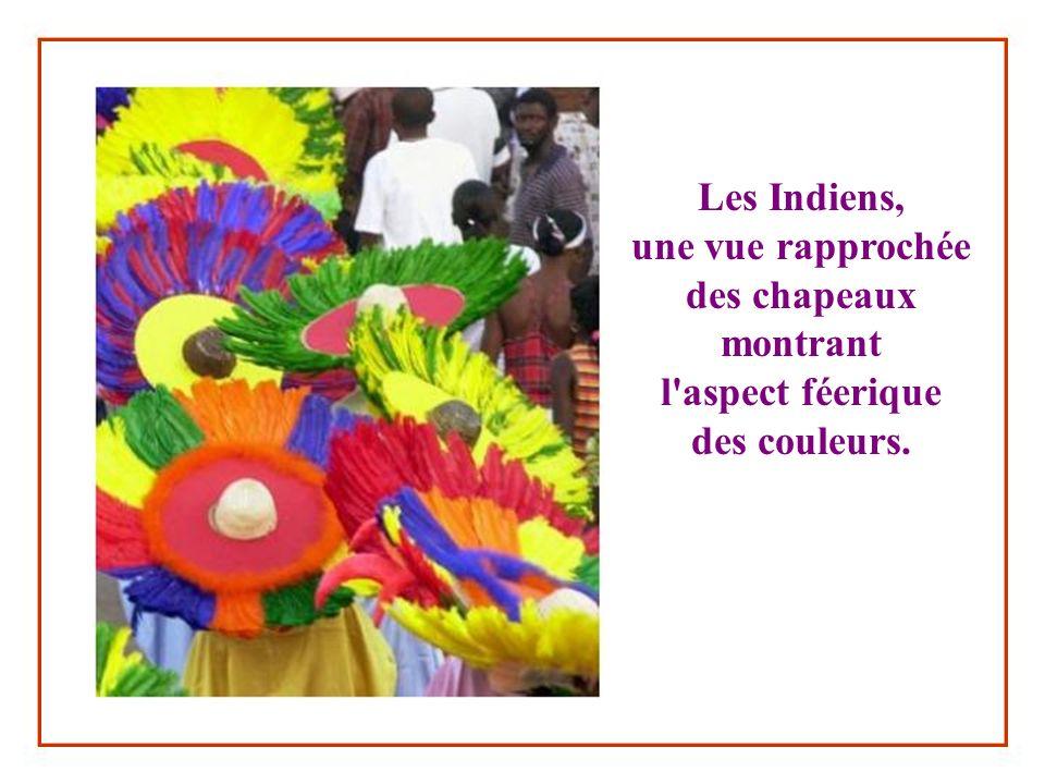 Les Indiens, une vue rapprochée des chapeaux montrant l aspect féerique des couleurs.