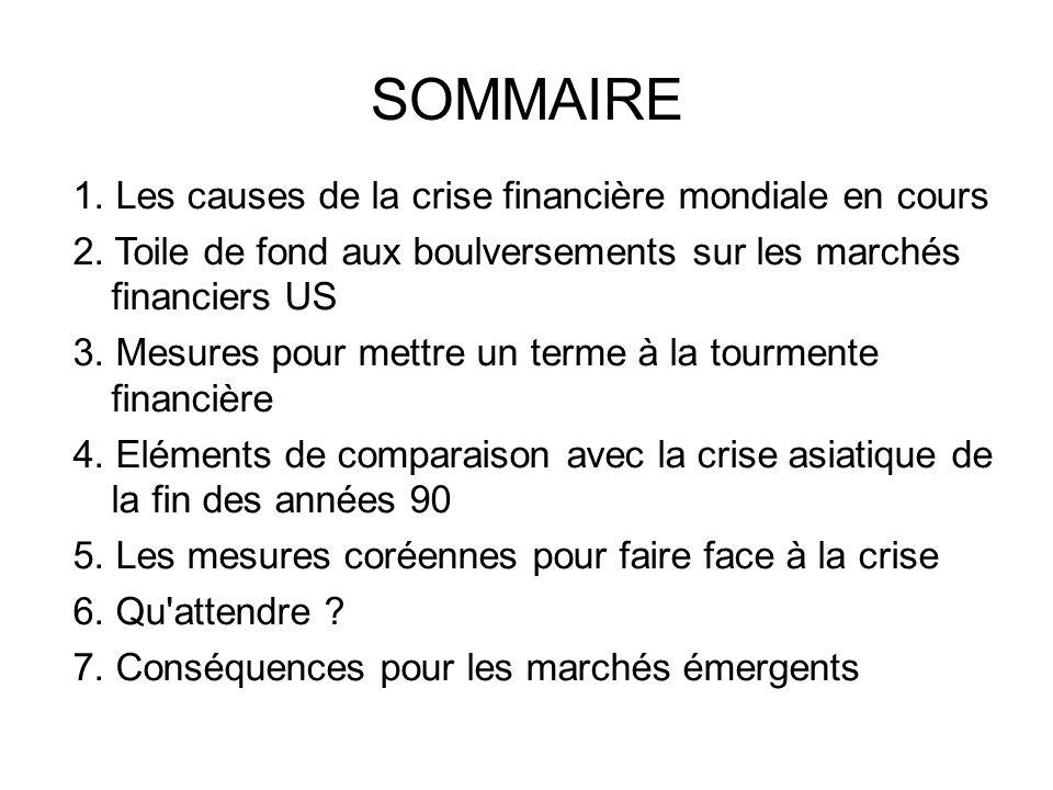 SOMMAIRE 1. Les causes de la crise financière mondiale en cours