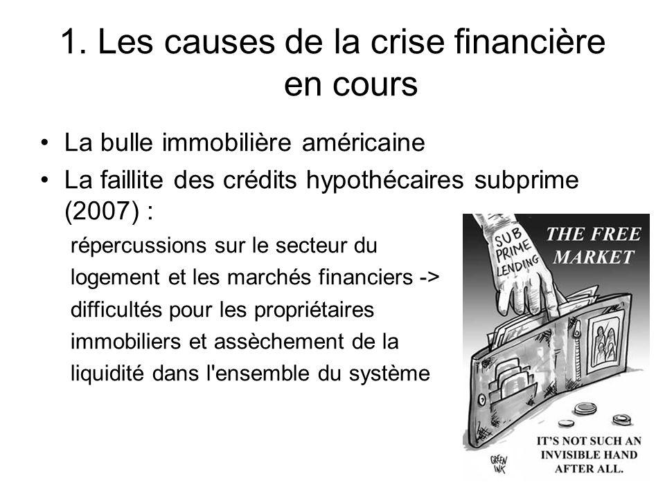 1. Les causes de la crise financière en cours