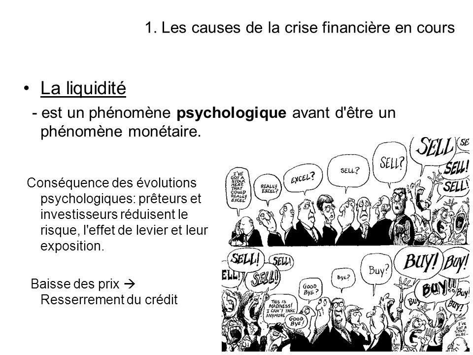 La liquidité 1. Les causes de la crise financière en cours