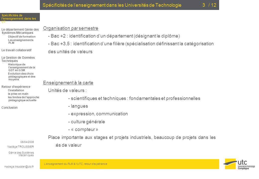 Spécificités de l'enseignement dans les Universités de Technologie