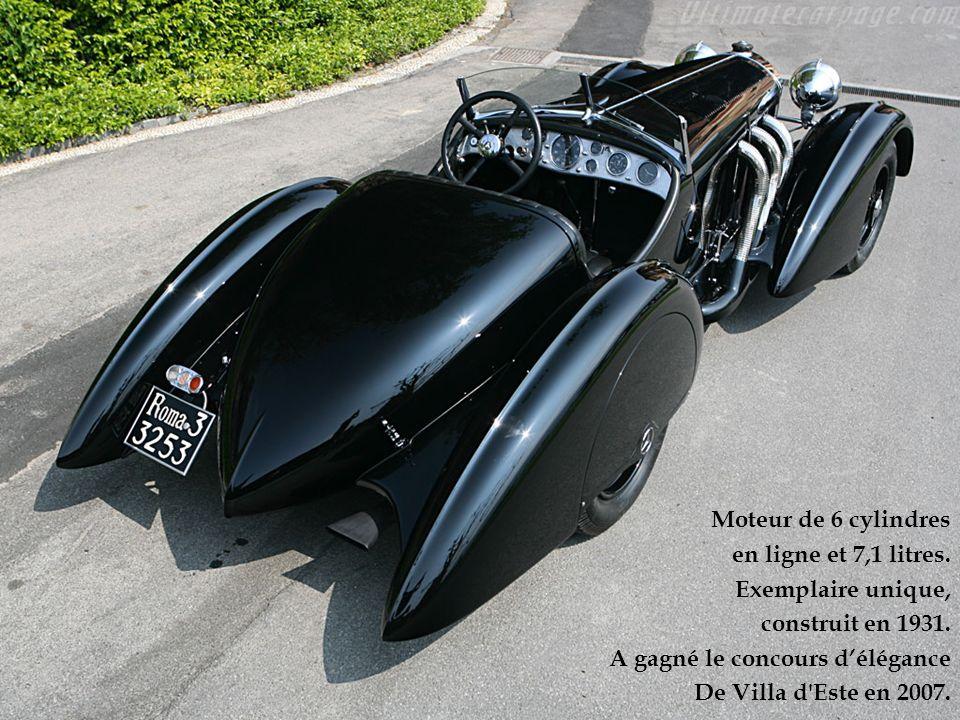 Moteur de 6 cylindres en ligne et 7,1 litres. Exemplaire unique, construit en 1931. A gagné le concours d'élégance.