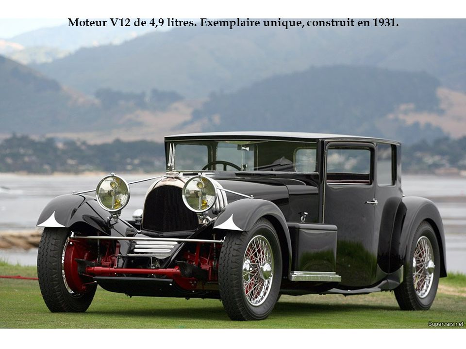 Moteur V12 de 4,9 litres. Exemplaire unique, construit en 1931.