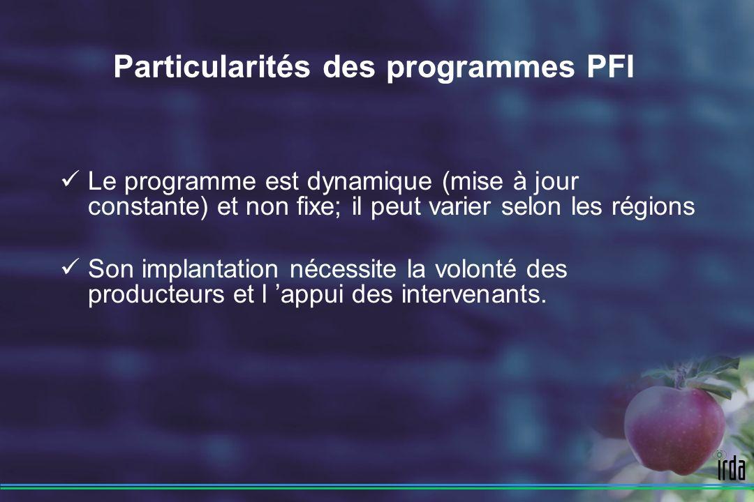 Particularités des programmes PFI