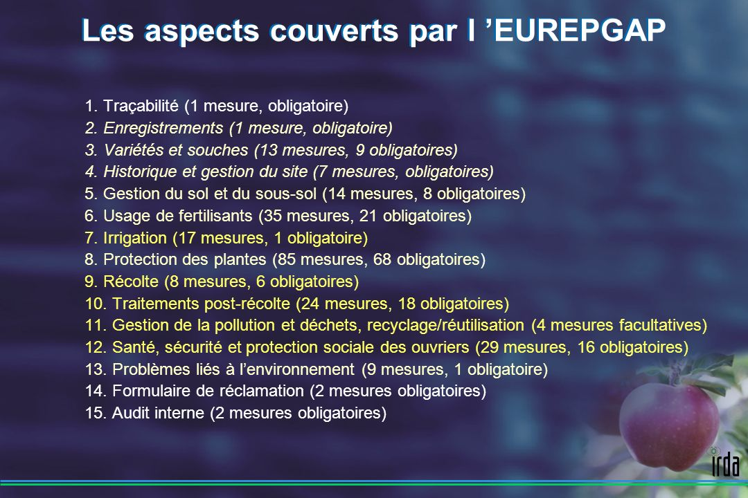 Les aspects couverts par l 'EUREPGAP