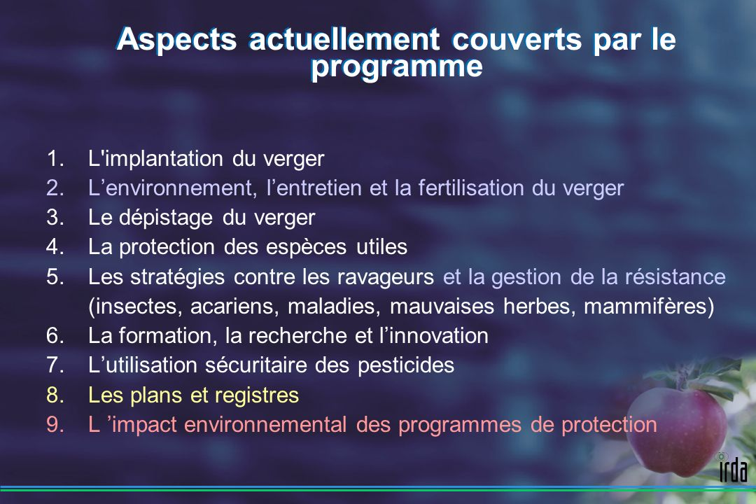 Aspects actuellement couverts par le programme
