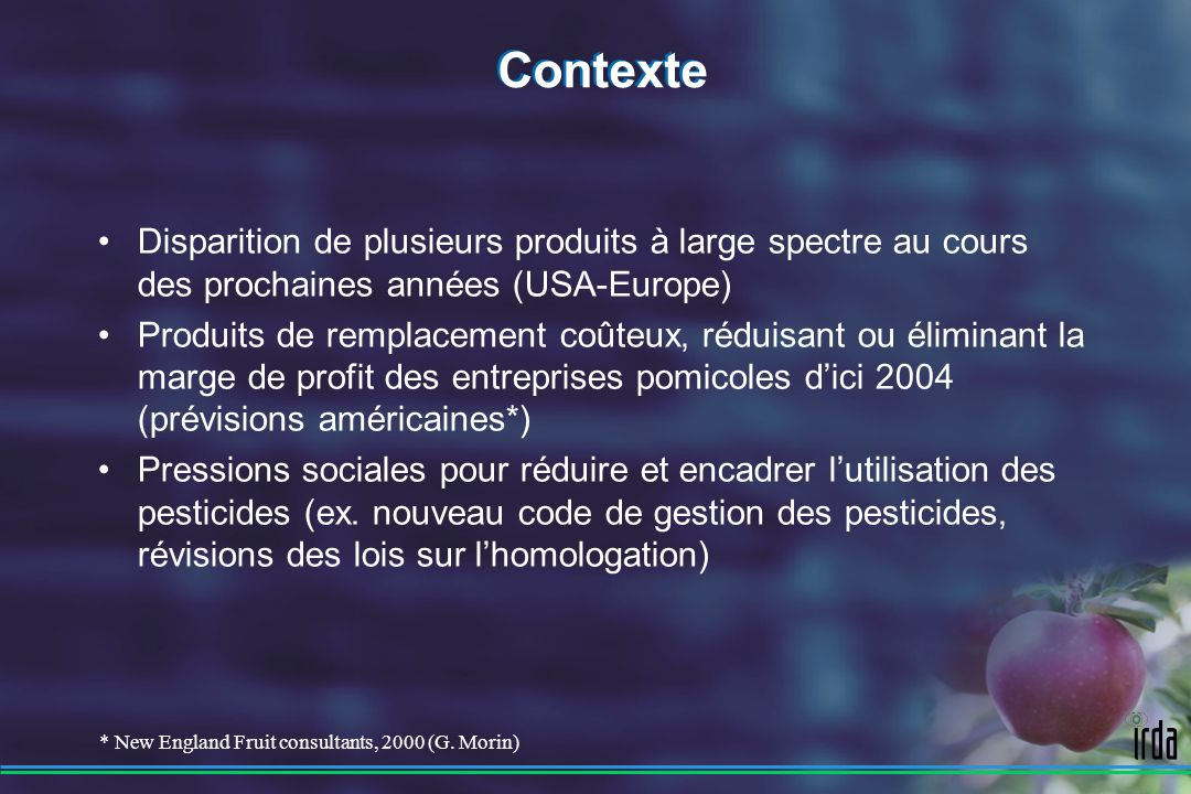 Contexte Disparition de plusieurs produits à large spectre au cours des prochaines années (USA-Europe)