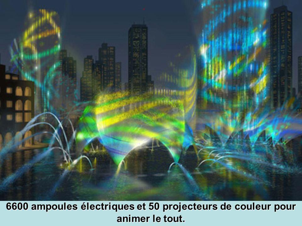 6600 ampoules électriques et 50 projecteurs de couleur pour animer le tout.