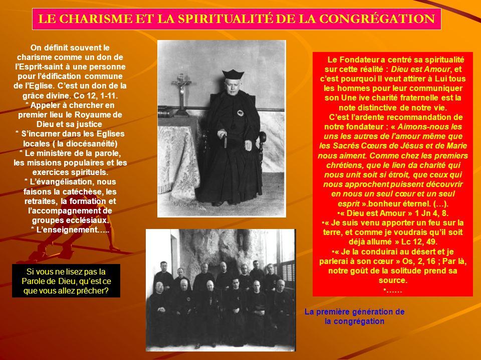 LE CHARISME ET LA SPIRITUALITÉ DE LA CONGRÉGATION