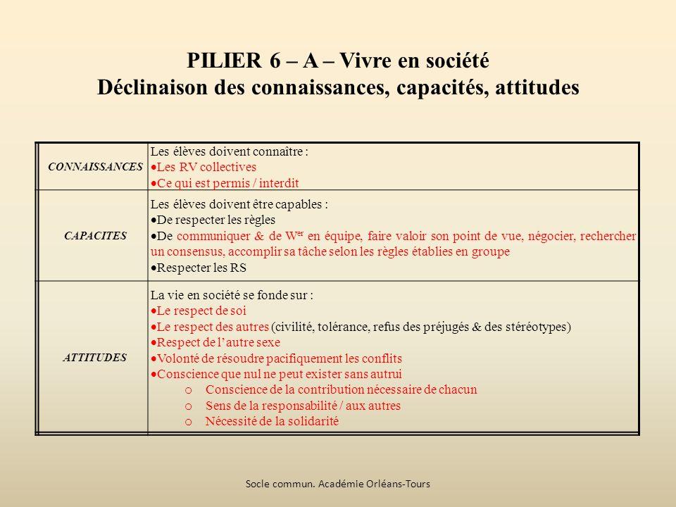 PILIER 6 – A – Vivre en société