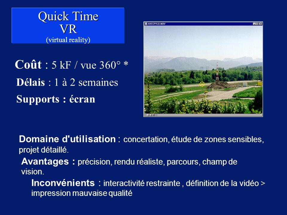 Quick Time VR Coût : 5 kF / vue 360° * Délais : 1 à 2 semaines