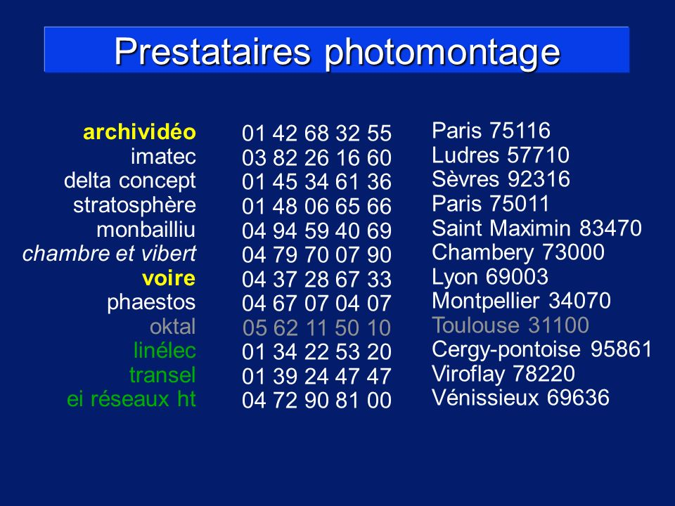 Prestataires photomontage