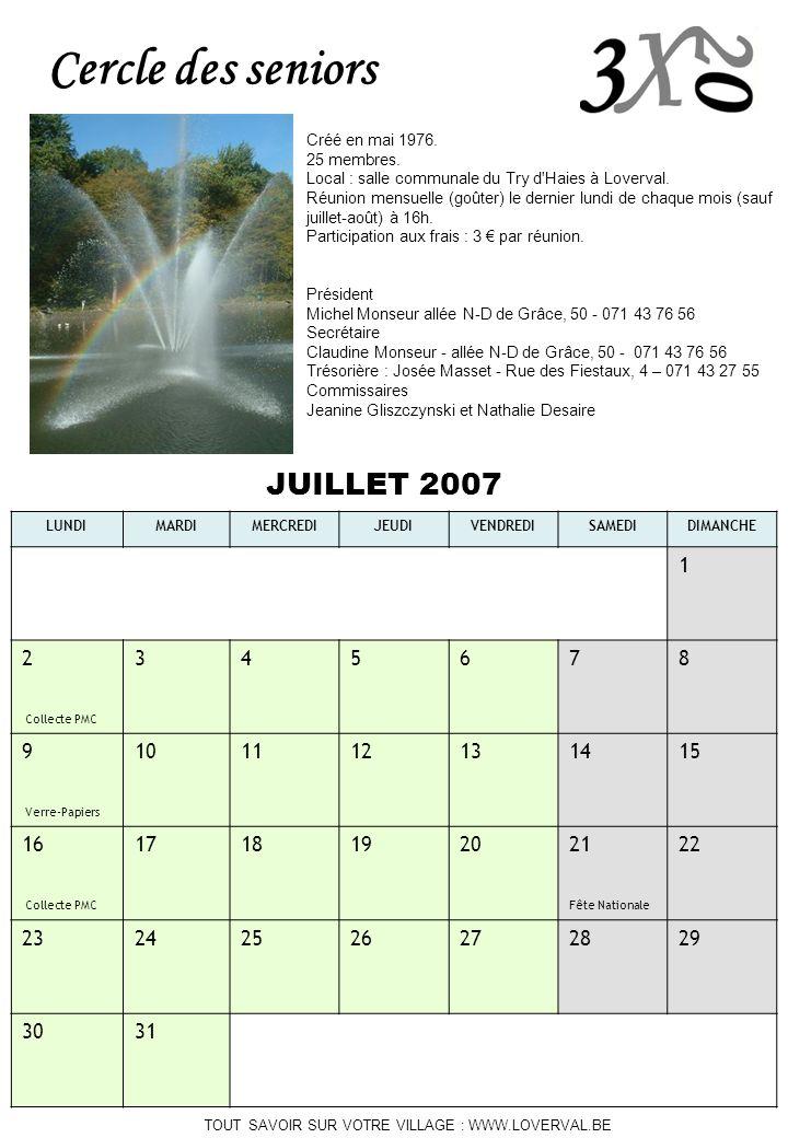 Cercle des seniors JUILLET 2007 1 2 Collecte PMC 3 4 5 6 7 8