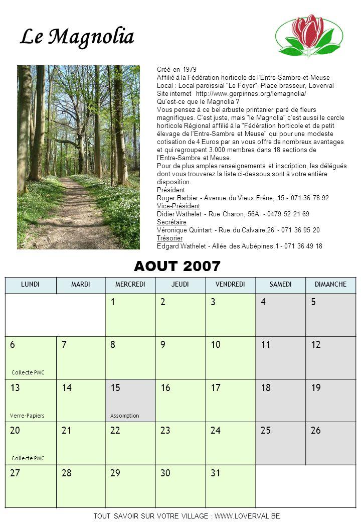 Le Magnolia AOUT 2007 1 2 3 4 5 6 Collecte PMC 7 8 9 10 11 12