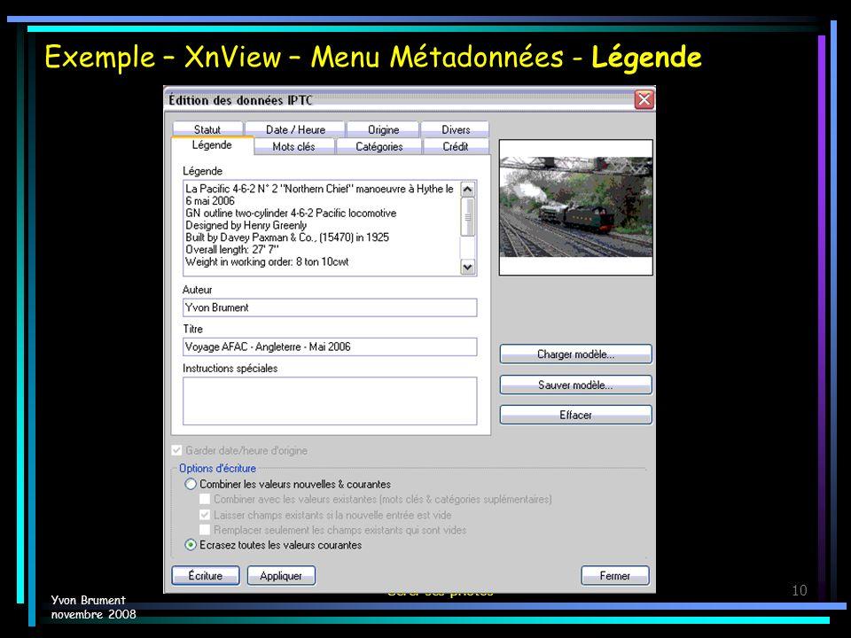 Exemple – XnView – Menu Métadonnées - Légende
