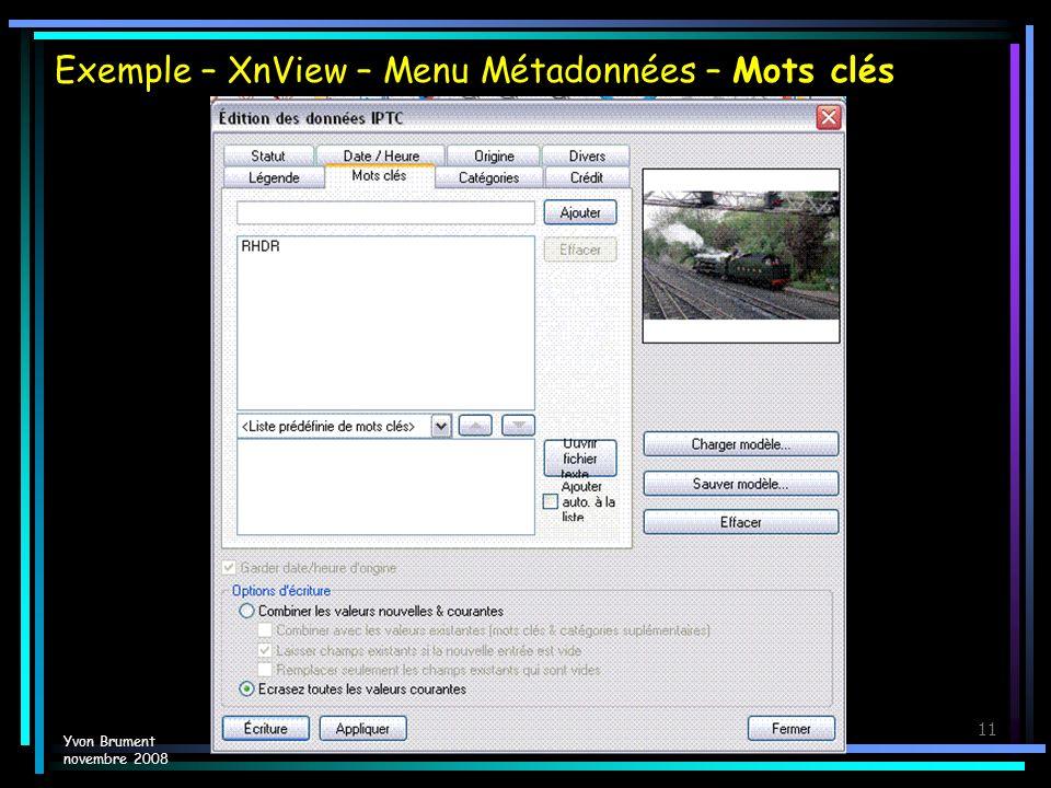 Exemple – XnView – Menu Métadonnées – Mots clés