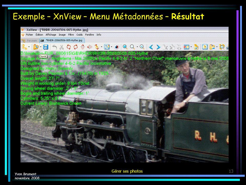 Exemple – XnView – Menu Métadonnées – Résultat