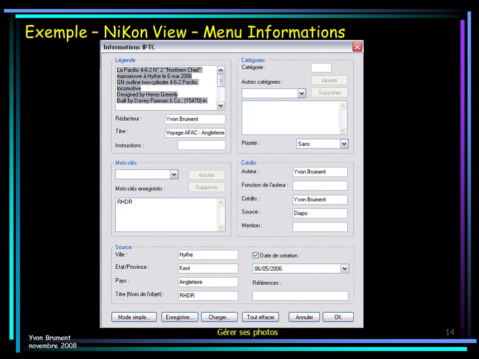 Exemple – NiKon View – Menu Informations
