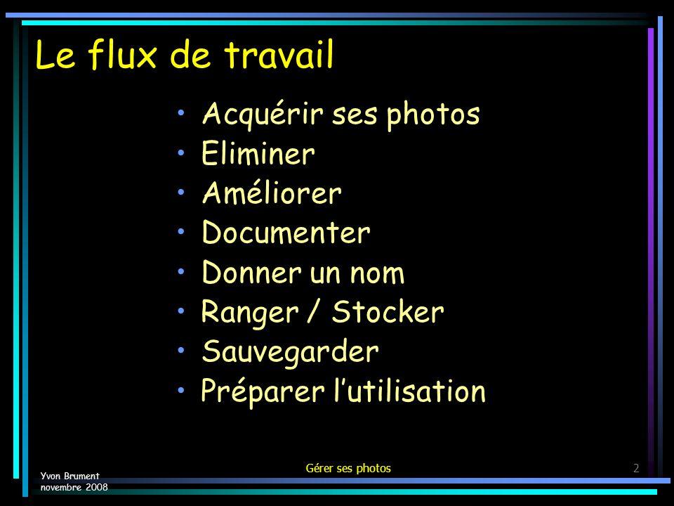 Le flux de travail Acquérir ses photos Eliminer Améliorer Documenter