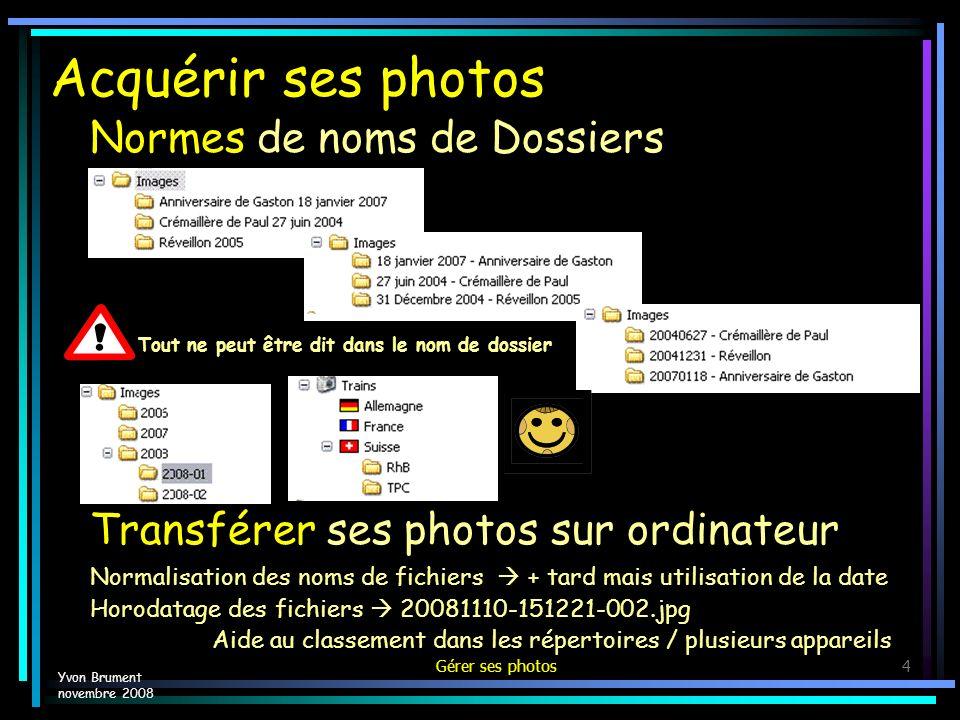Acquérir ses photos Normes de noms de Dossiers