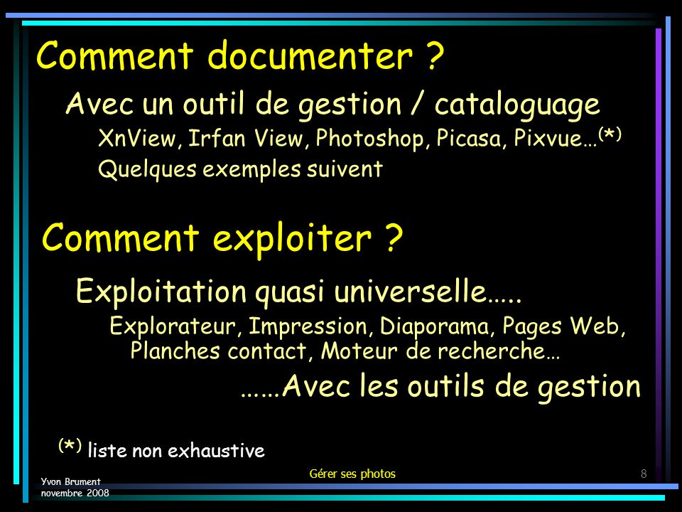 Comment documenter Comment exploiter
