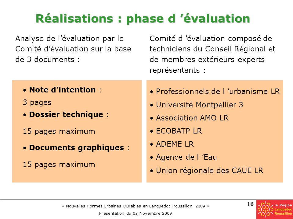 Réalisations : phase d 'évaluation
