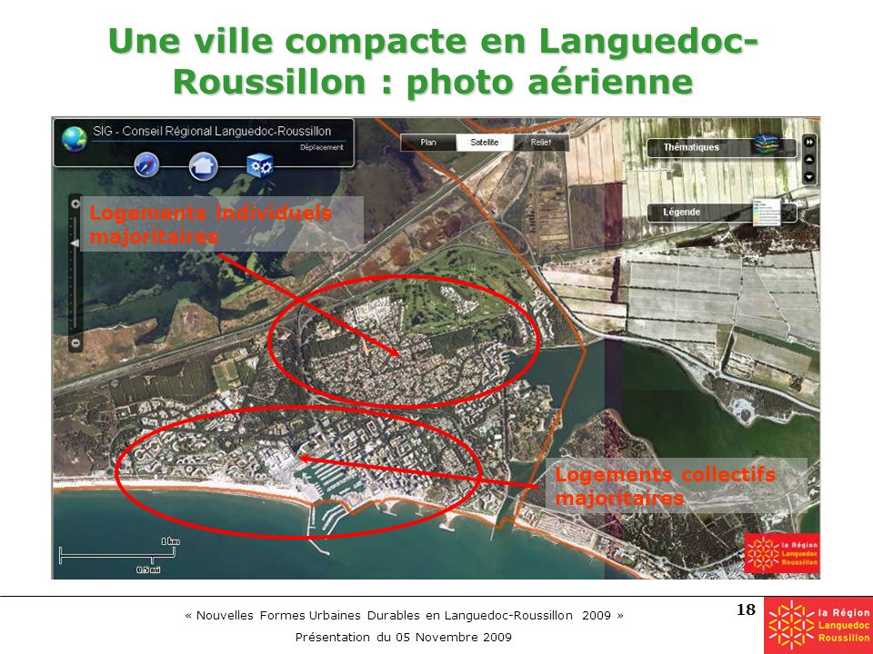 Une ville compacte en Languedoc-Roussillon : photo aérienne