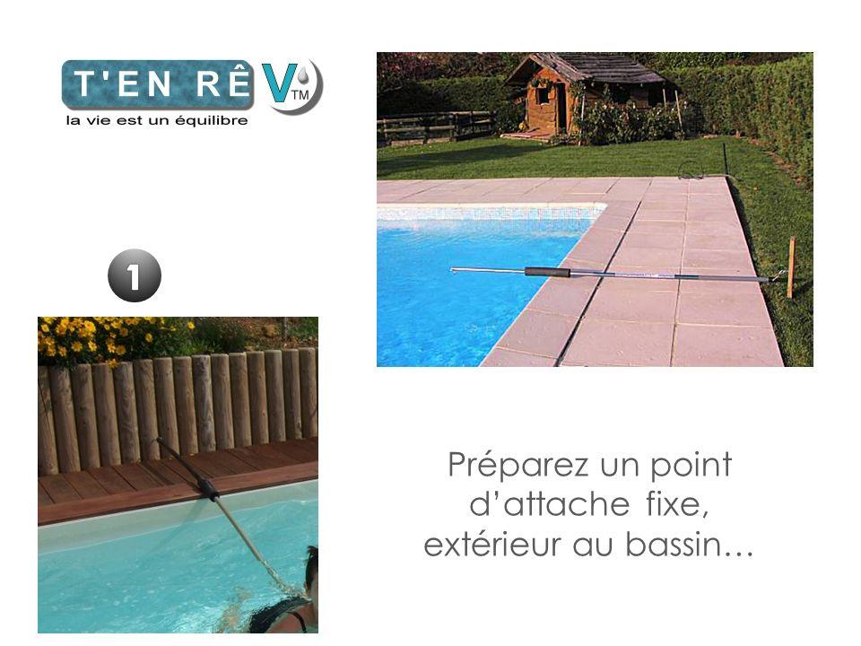 Préparez un point d'attache fixe, extérieur au bassin…