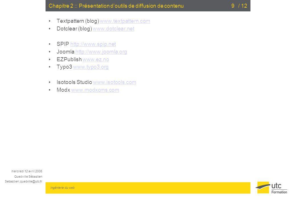 Chapitre 2 :: Présentation d'outils de diffusion de contenu