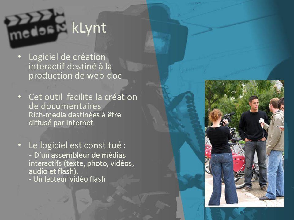 kLynt Logiciel de création interactif destiné à la production de web-doc.
