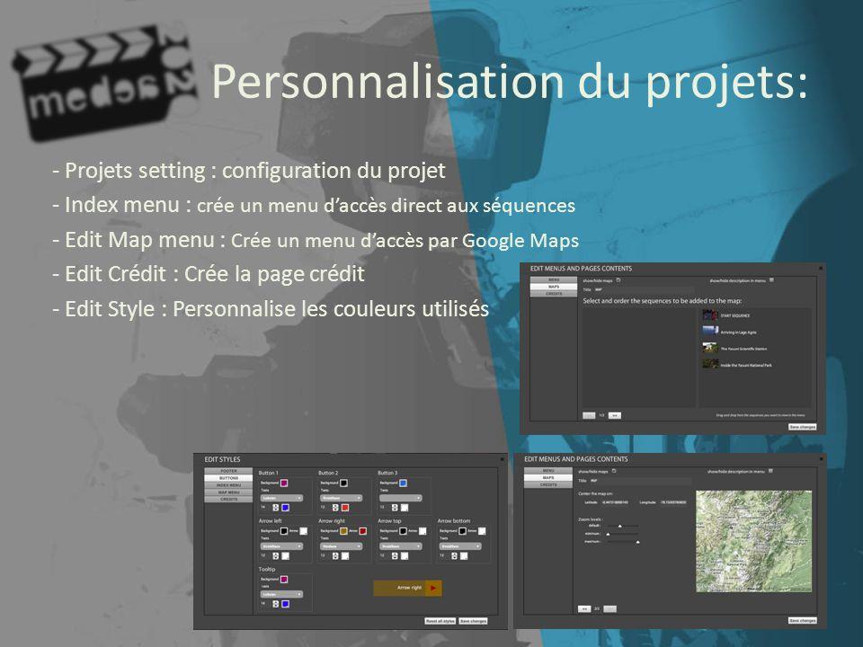 Personnalisation du projets: