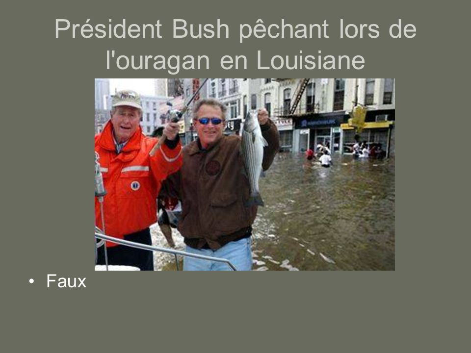 Président Bush pêchant lors de l ouragan en Louisiane