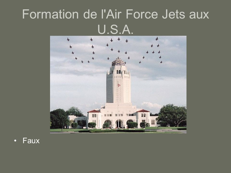 Formation de l Air Force Jets aux U.S.A.