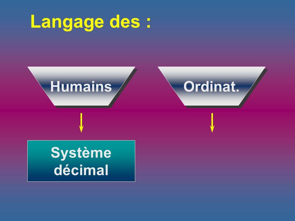 Langage des : Humains Ordinat. Système décimal