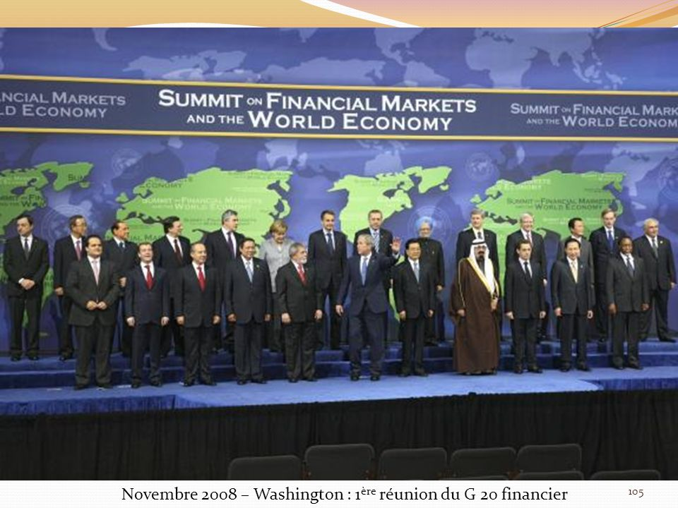 Novembre 2008 – Washington : 1ère réunion du G 20 financier