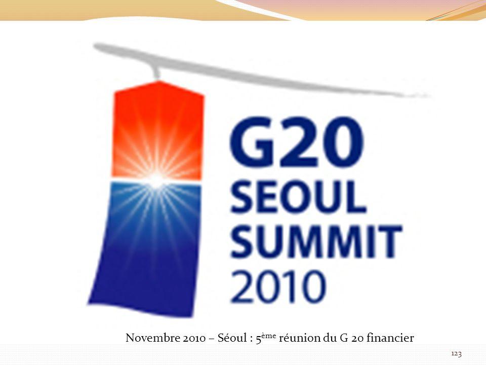 Novembre 2010 – Séoul : 5ème réunion du G 20 financier