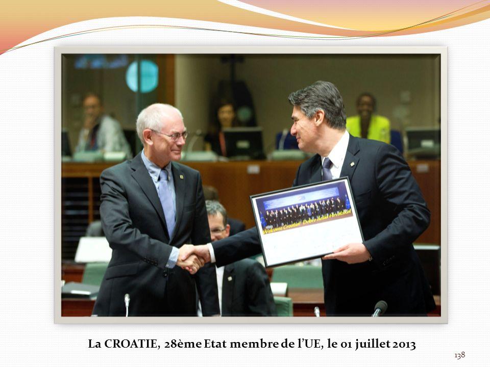 La CROATIE, 28ème Etat membre de l'UE, le 01 juillet 2013