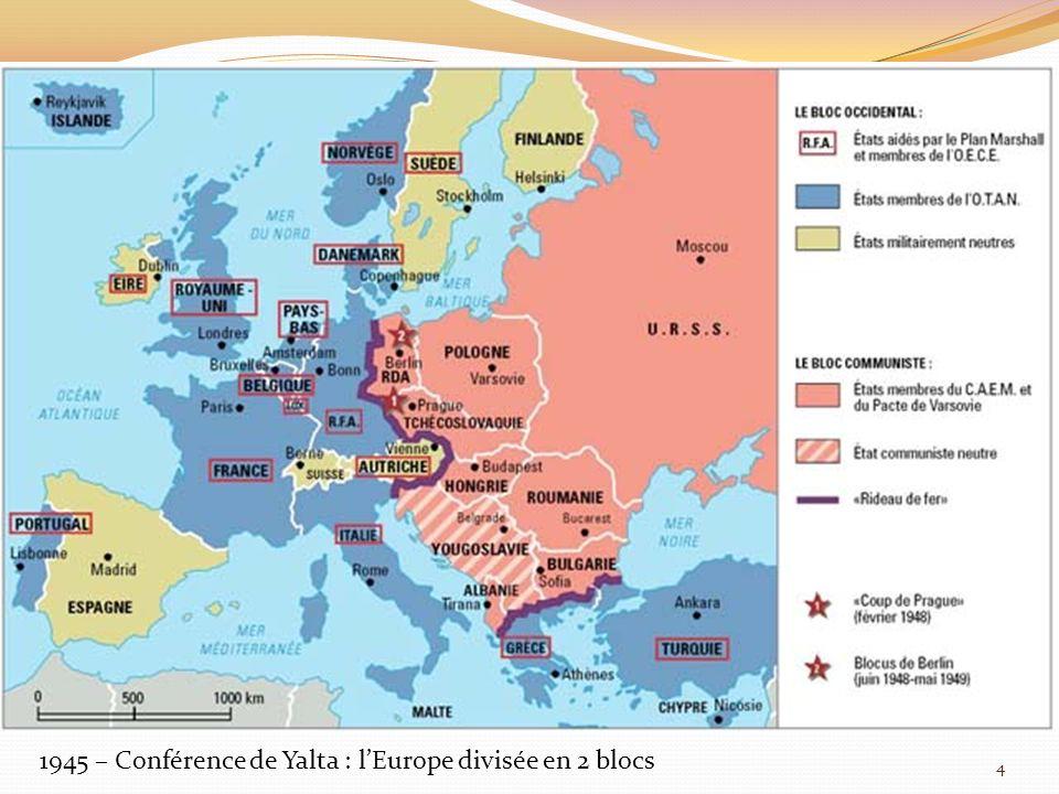 1945 – Conférence de Yalta : l'Europe divisée en 2 blocs