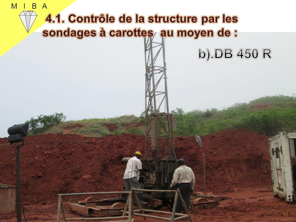 M I B A 4.1. Contrôle de la structure par les sondages à carottes au moyen de : b).DB 450 R