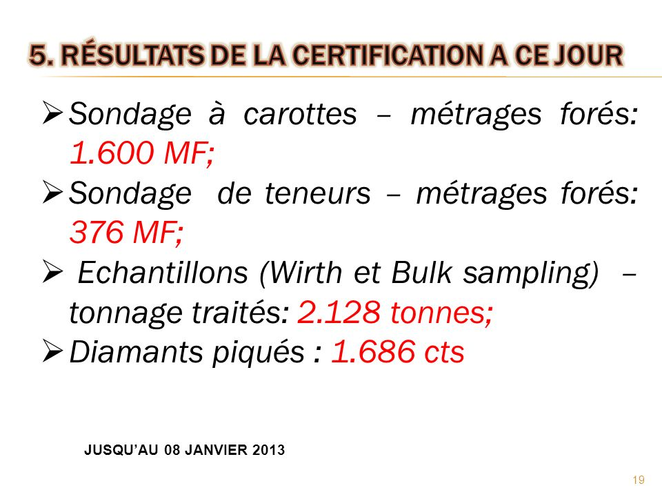 5. Résultats de la certification a ce jour