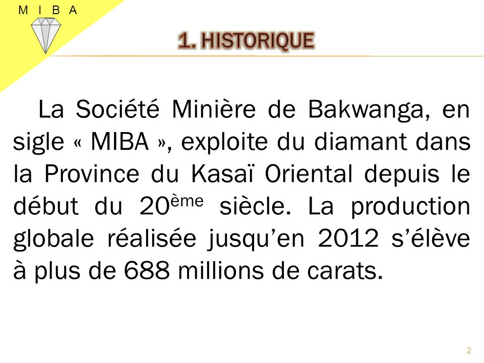 M I B A 1. HISTORIQUE.