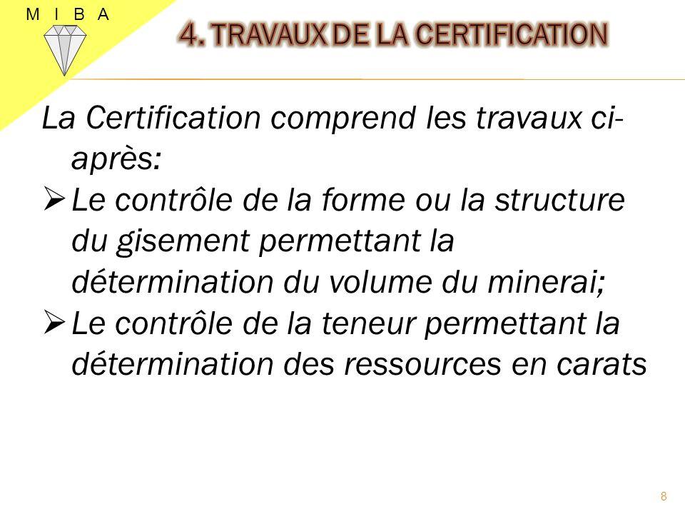 4. TRAVAUX DE LA CERTIFICATION