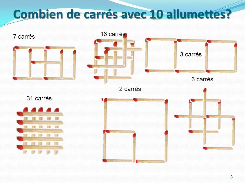 Combien de carrés avec 10 allumettes