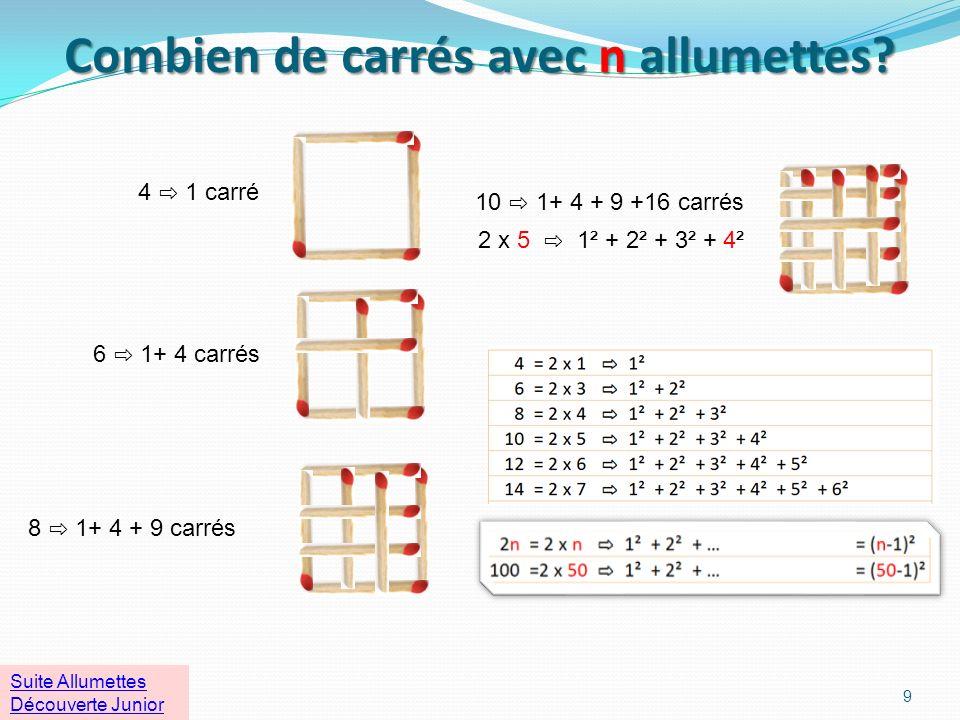 Combien de carrés avec n allumettes