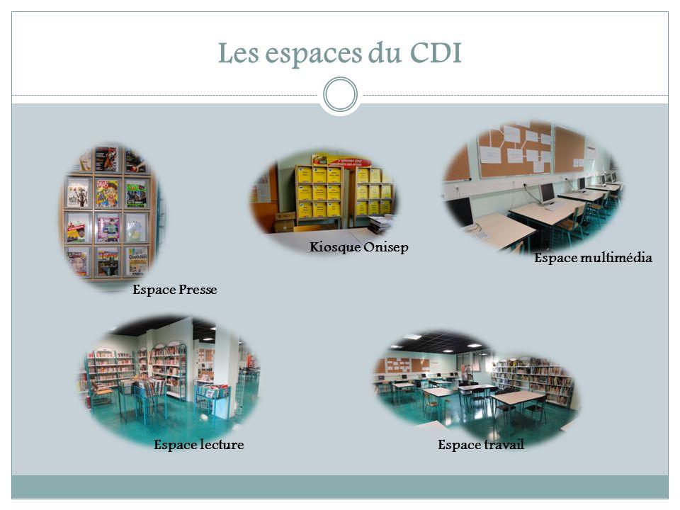 Les espaces du CDI Kiosque Onisep Espace multimédia Espace Presse