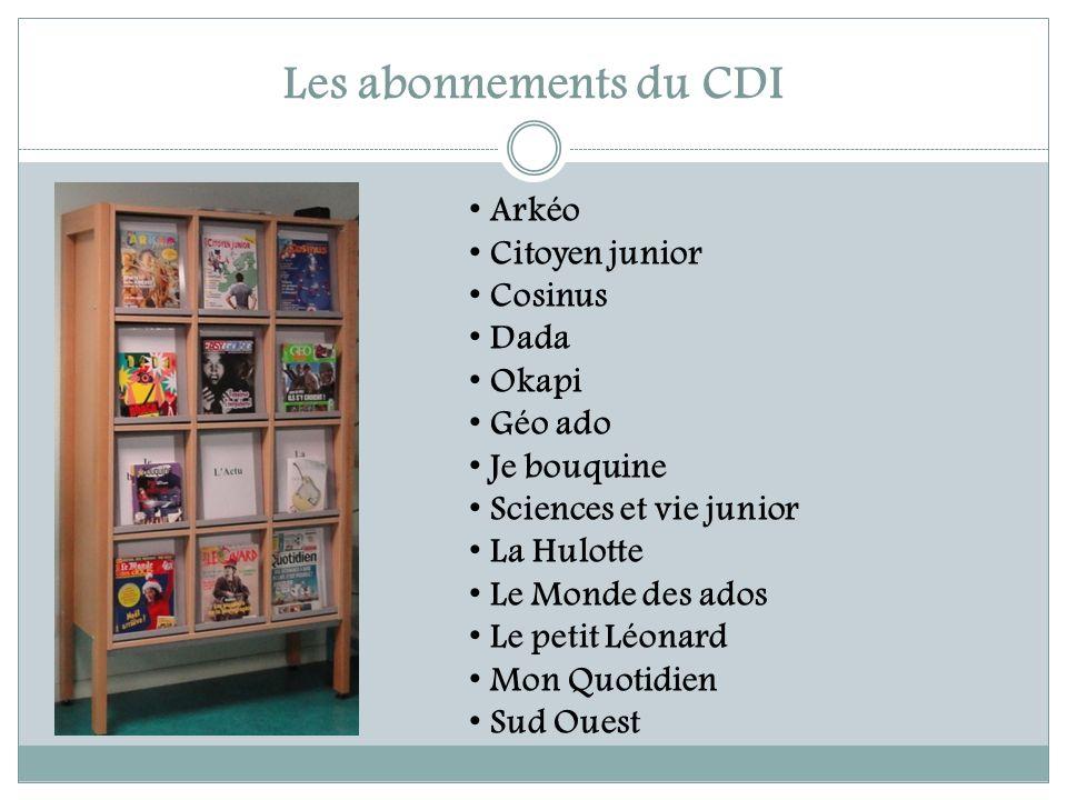 Les abonnements du CDI Arkéo Citoyen junior Cosinus Dada Okapi Géo ado