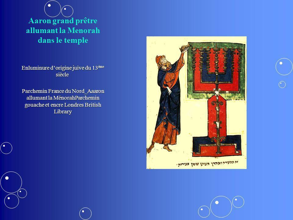 Aaron grand prêtre allumant la Menorah dans le temple