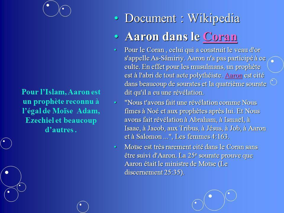 Document : Wikipedia Aaron dans le Coran