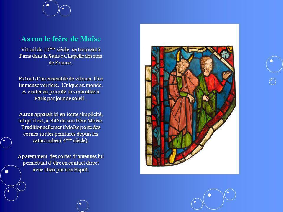 Aaron le frêre de Moïse Vitrail du 10ème siècle se trouvant à Paris dans la Sainte Chapelle des rois de France .